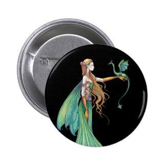 Dragón de hadas verde de la disciplina por Molly H Pin Redondo 5 Cm