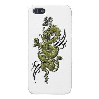 dragón de iPhone4-Green iPhone 5 Fundas