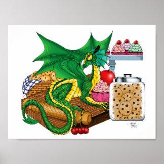 Dragón de la cocina póster