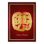 """Dragón de la felicidad/Phoenix dobles chinos RSVP Invitación 3.5"""" X 5"""""""