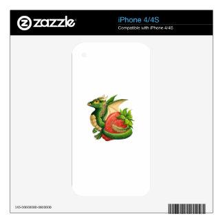 Dragón de la fresa iPhone 4 calcomanías