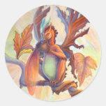 Dragón de la hada de la hoja de arce etiquetas redondas