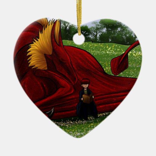 Dragón de la lectura ornaments para arbol de navidad