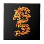 Dragón de la llama azulejos