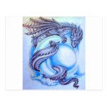Dragón de la luna azul postales