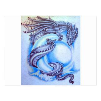Dragón de la luna azul tarjeta postal