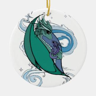dragón de la madre y del bebé adorno navideño redondo de cerámica