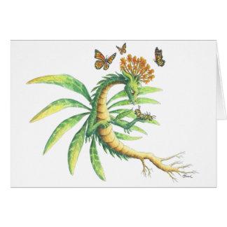 Dragón de la mala hierba de mariposa tarjeta de felicitación