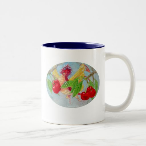 Dragón de la mariposa en el cerezo taza