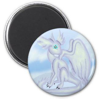 Dragón de la nieve imán redondo 5 cm