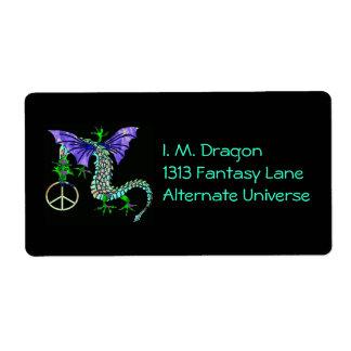 Dragón de la paz etiquetas de envío