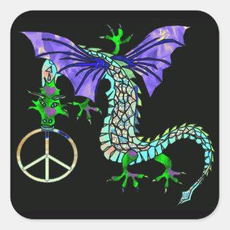 Dragón de la paz pegatina cuadrada