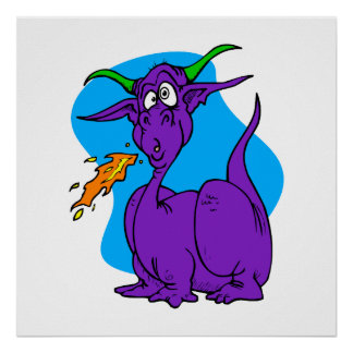 Dragón de la púrpura de Sneezer de la llama Poster