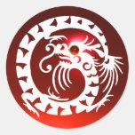 DRAGÓN de la SERPIENTE, blanco, rubí rojo Etiqueta