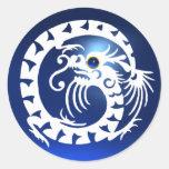 DRAGÓN de la SERPIENTE, blanco, zafiro azul Etiqueta