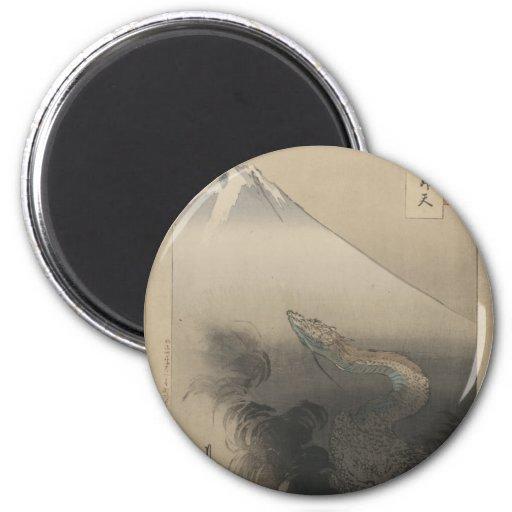 Dragón de levantamiento - ejemplo del japonés del  imán redondo 5 cm