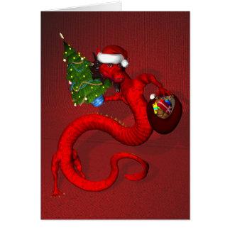 Dragón de Navidad de Papá Noel Tarjeta De Felicitación