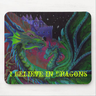 DRAGÓN DE NEÓN 1 que creo en dragones Alfombrillas De Ratones