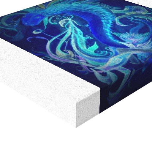 Dragón de neón azul en lona impresion en lona