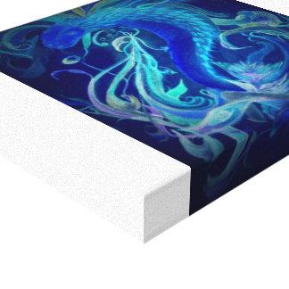 Dragón de neón azul en lona impresiones de lienzo