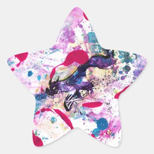 Dragón de neón pegatina en forma de estrella