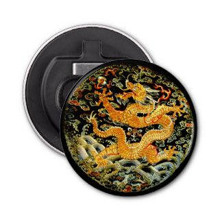 Dragón de oro bordado antigüedad china del zodiaco abrebotellas redondo