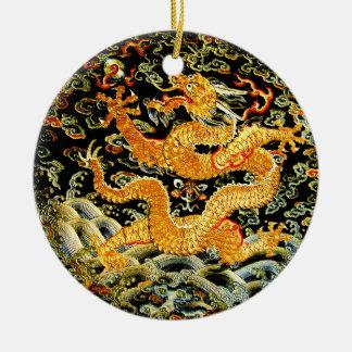 Dragón de oro bordado antigüedad china del zodiaco adorno navideño redondo de cerámica