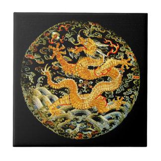 Dragón de oro bordado antigüedad china del zodiaco azulejo cuadrado pequeño