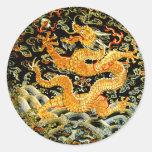 Dragón de oro bordado antigüedad china del zodiaco etiqueta redonda