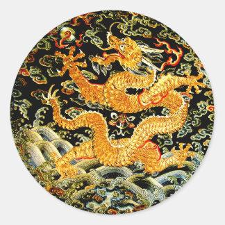 Dragón de oro bordado antigüedad china del zodiaco pegatina redonda