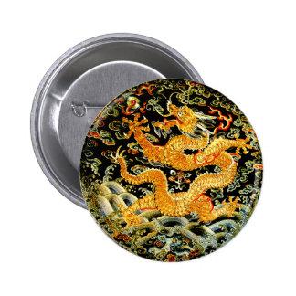 Dragón de oro bordado antigüedad china del zodiaco pin redondo de 2 pulgadas