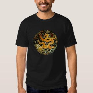 Dragón de oro bordado antigüedad china del zodiaco poleras