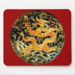 Dragón de oro bordado antigüedad china del zodiaco alfombrillas de ratones