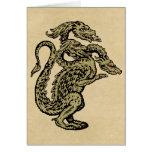 Dragón de oro con tres cabezas tarjeta de felicitación