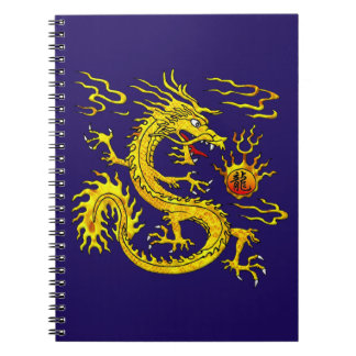 Dragón de oro spiral notebook