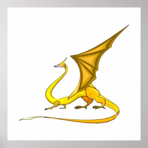 Dragón de oro de la fantasía poster