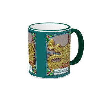 Dragón de oro del templo chino taza de dos colores