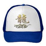 Dragón de oro del zodiaco chino gorros bordados
