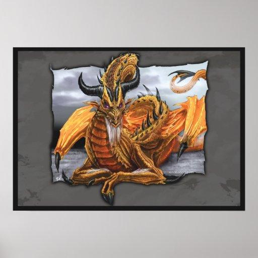 Dragón de oro impresiones