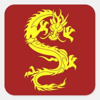 dragón de oro calcomania cuadrada personalizada
