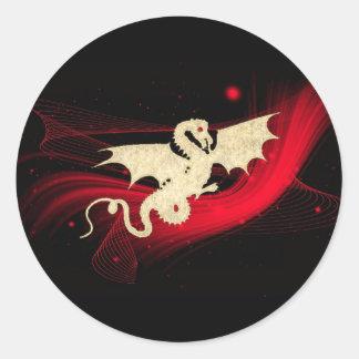 Dragón de oro pegatina redonda