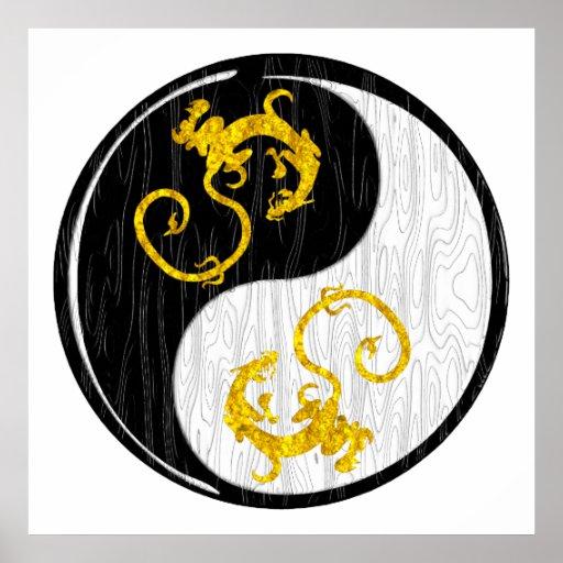 Dragón de oro Yin Yang Posters