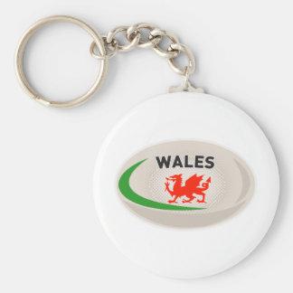 Dragón de País de Gales Galés de la bola de rugbi Llaveros