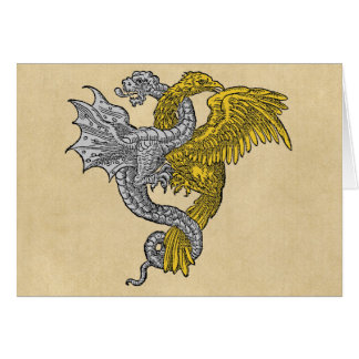 Dragón de plata contra la sepia de Eagle de oro Tarjeta De Felicitación