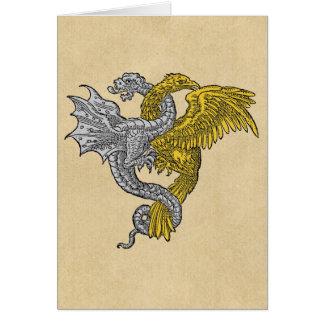 Dragón de plata de oro de Eagle Tarjeta De Felicitación