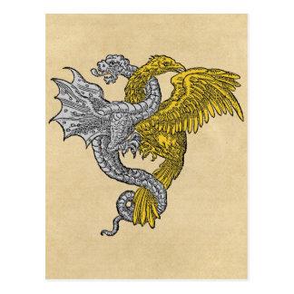 Dragón de plata de oro de Eagle Tarjeta Postal