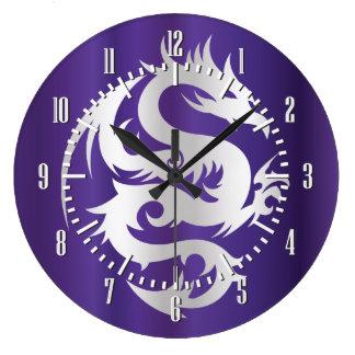 Dragón de plata en púrpura imperial reloj redondo grande