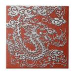 Dragón de plata en textura de cuero coralina profu azulejo