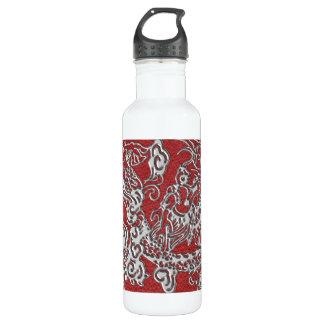 Dragón de plata en textura de cuero roja