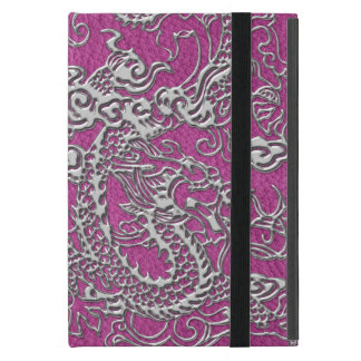 Dragón de plata en textura de cuero rosada magenta iPad mini protector
